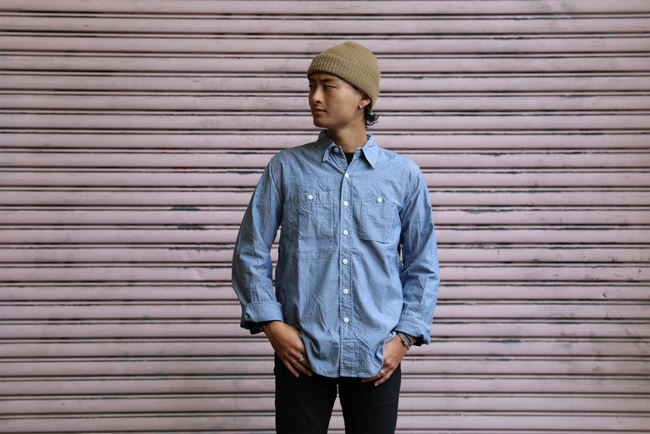 Engineered garments work shirt lt blue cotton chambray for Blue cotton work shirts