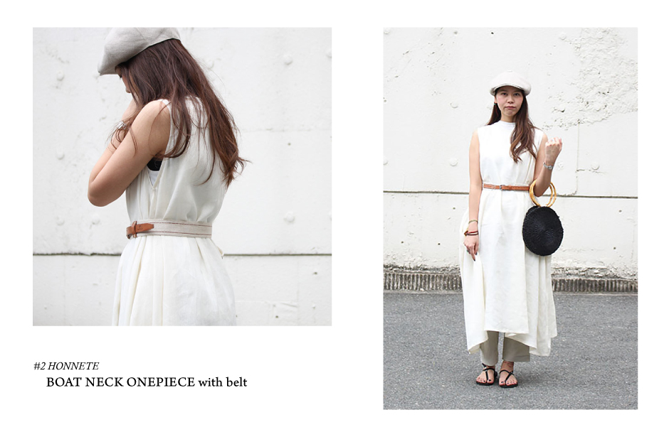 #2 HONNETE/BOAT NECK ONE PIECE with belt