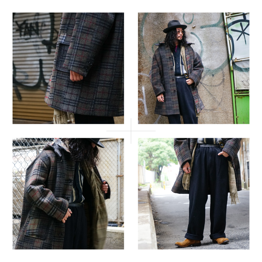 SEVEN BY SEVEN | Hooded Coat-Needle Punch Melton/Vintage Stole